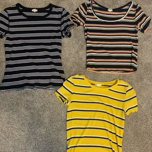 Three Garage Striped Baby Tee's